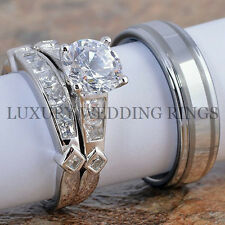 3PCS Wedding Engagement Rings Women's Set & Tungsten Men's Ring Bridal Jewelry