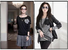 Women Tunic Top Batwing Long Sleeve Blouse Stretch Cotton T Shirt With Corsage M