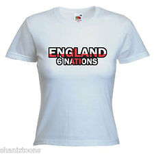England 6 Nations Rugby Ladies Lady Fit T Shirt Size 6 -16
