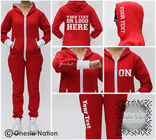 ONESIE NATION Personalised Red White Cuff S M L XL Ladies Mens Adult Teen Womens