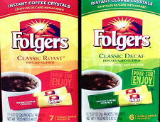 """6 bxs Folgers Coffee """"On the Go"""" Instant Coffee Packets   Classic or Decaf"""