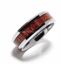 8mm Tungsten Carbide Wood Inlay Ring Band  Full & Half Sizes 7 to 14