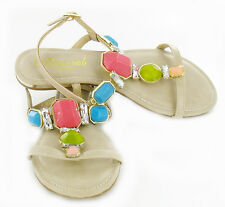 L6737 Womens Beige Flat Sandal ankle strap T bar strap with large gems trims
