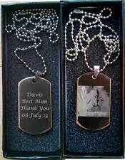 Personalised Engraved Photo/Text Polished Stainless Steel ID Dog Tag Free Chain