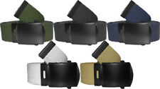 "Military Web Belts Black Belt Buckle 100% Cotton Web Belts - 1.25"" Wide"