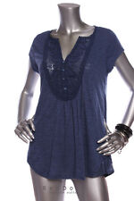 NEW ANTHROPOLOGIE By Meadow Rue Lace Yoke Button Point Top Light Navy Sz M/L/XL