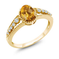 0.91 Ct Oval Checkerboard Yellow Citrine White Topaz 18K Yellow Gold Ring