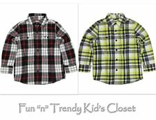 NWT 77KIDS AMERICAN EAGLE BOYS SIZE 2 2T 3 3T PLAID  FLANNEL SHIRT YELLOW BLACK
