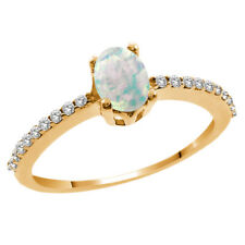 0.93 Ct Oval Cabochon White Simulated Opal White Topaz 14K Yellow Gold Ring