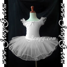#TB01 Girl Ballet Leotard Dance Ball Party Costume Tutu Dress, White 2-9 Years