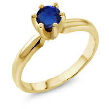 0.55 Ct Round Blue Simulated Sapphire 925 Yellow Gold Plated Silver Ring