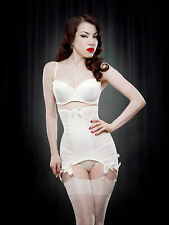 50s Style Retro Longline Open Bottom Girdle with 6 Suspenders Vintage Glamour