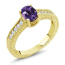 1.15 Ct Oval Purple Amethyst White Topaz 18K Yellow Gold Plated Silver Ring