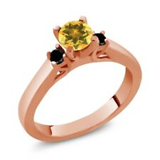 0.58 Ct Round Yellow Citrine Black Diamond 925 Rose Gold Plated Silver Ring