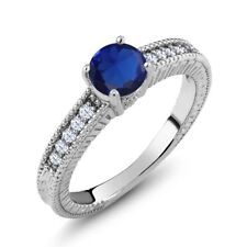 1.20 Ct Round Blue Simulated Sapphire White Topaz 925 Sterling Silver Ring