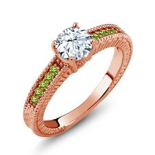 1.20 Ct Round White Topaz Green Peridot 925 Rose Gold Plated Silver Ring