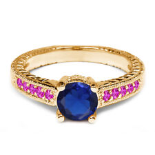 1.18 Ct Blue Simulated Sapphire Pink Sapphire 925 Yellow Gold Plated Silver Ring