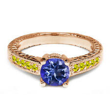 1.17 Ct Round Purple Blue Mystic Topaz Canary Diamond 14K Rose Gold Ring