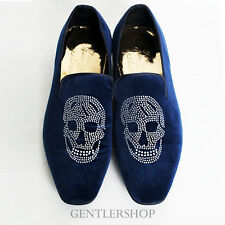 Mens Fashion Skull Logo Blue Velvet Loafers Slip Ons Handmade-R5248, GENTLERSHOP