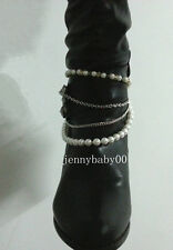 Sexy Chunky Women Chain Boots NECKLACE Anklet Bracelet Bangle Foot Pearl Jewelry