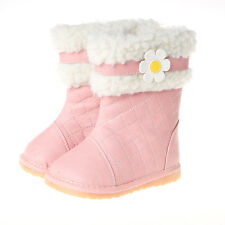 Girls Toddler Childrens Leather Squeaky Boots - Pink with Fleece Lining + Flower