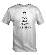 White Stay Classy T Shirt funny anchorman burgandy Ron San Diego Channel 5 TV