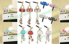 FOR APLLE IPHONE 4S 4 LUXURY 3D BLING ANIT DUST PLUG 3.5 MM EAR JACK PHONE CHARM