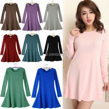 NEW Women Pure Cotton Casual Short Mini Dress Blouse SUNDRESS  T SHIRT TOP M-4XL