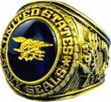 UNITED STATE NAVY SEAL SIGNET RING 18K (GP) BLUE AUSTRIAN CRYSTAL RHODIUM FINISH