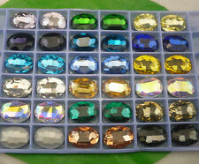 18X25mm Oval Glass crystal Color Faceted Glass Round Jewels silver bottom