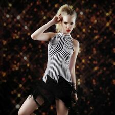 New Sexy Halter Neck Tassels Black-White Striped Latin Tango Dance Dress D370D