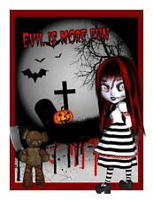 Custom Made T Shirt Evil Is More Fun Gothic Girl Bear Cemetary Grave Bats Blood
