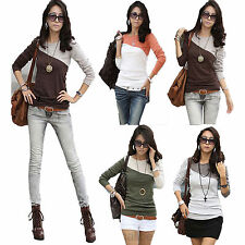 Womens Ladies Long Sleeve Crew Neck T-Shirt Casual Tops Blouse Tee Color Block