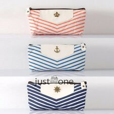 Navy Stripes Stationery Pen Pencil Case Phone Coin Purse Cosmetic Pouch Canvas