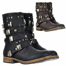 LADIES WOMENS DOLCIS MILITARY ANKLE BIKER BOOT STUDDED BUCKLE BLACK BROWN SIZE