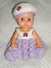 """Hand Crocheted 10"""" Lilac Cutie Baby Doll"""