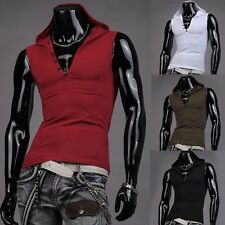 Men's Sexy Slim Fit Sleeveless Hoodies Hooded Vest Tank Tops Gym Sports Shirts