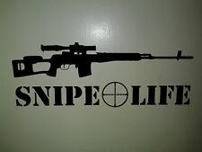 Snipe Life with sniper rifle decal sticker for wall, car, laptop, etc
