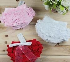 Infant Baby Ruffle Bloomer Pantie Pettiskirt Nappy Cover 0-24M Red Pink White