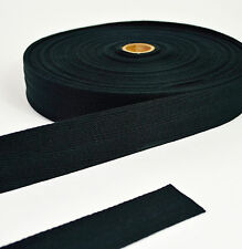Cotton Herringbone Webbing 38mm - Black - 1 Metre to 50 Metres - Bag Straps Etc
