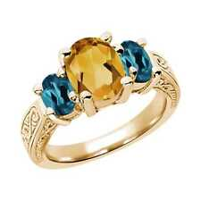 2.25 Ct Oval Yellow Citrine London Blue Topaz 14K Yellow Gold 3-Stone Ring