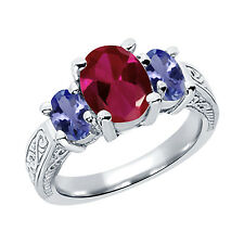 3.29 Ct Oval Red Created Ruby Blue Tanzanite 925 Sterling Silver 3-Stone Ring