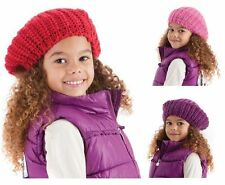 Girls Chunky Cable Knit Lurex  Beanie Beret Hat 3 colours fast post 1st class
