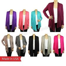 Woman Casual Cardigan Basic Solid Color Jersey Outerwear S M L XL Made in USA