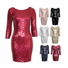 Womens Sequin 3/4 Sleeve V Back Zipped Stretch Fitted Fully Lined Party Dress