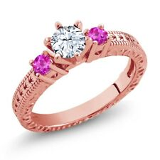 0.86 Ct Round White Topaz Pink Sapphire 18K Rose Gold Plated Silver 3-Stone Ring