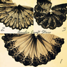 "4.5""~8"" 1 Yard Vintage Black Wide Lace Trim Tulle Bridal Wedding Veil"