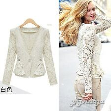 Fashion Womens Long Sleeve One Button Lace Casual Cropped Tops Small Jacket Coat