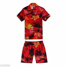 Boy Toddler Aloha Shirt Set Shorts Beach Hawaiian Cruise Luau Red Sunset Palm