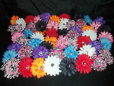 WHOLESALE LOT 12 gerber DAISY flower crafts TUTU hair ZEBRA many COLOR choices